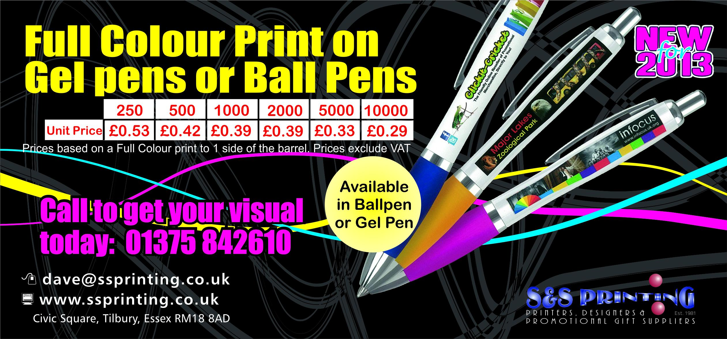 Full colour print on Ball or Gel pens