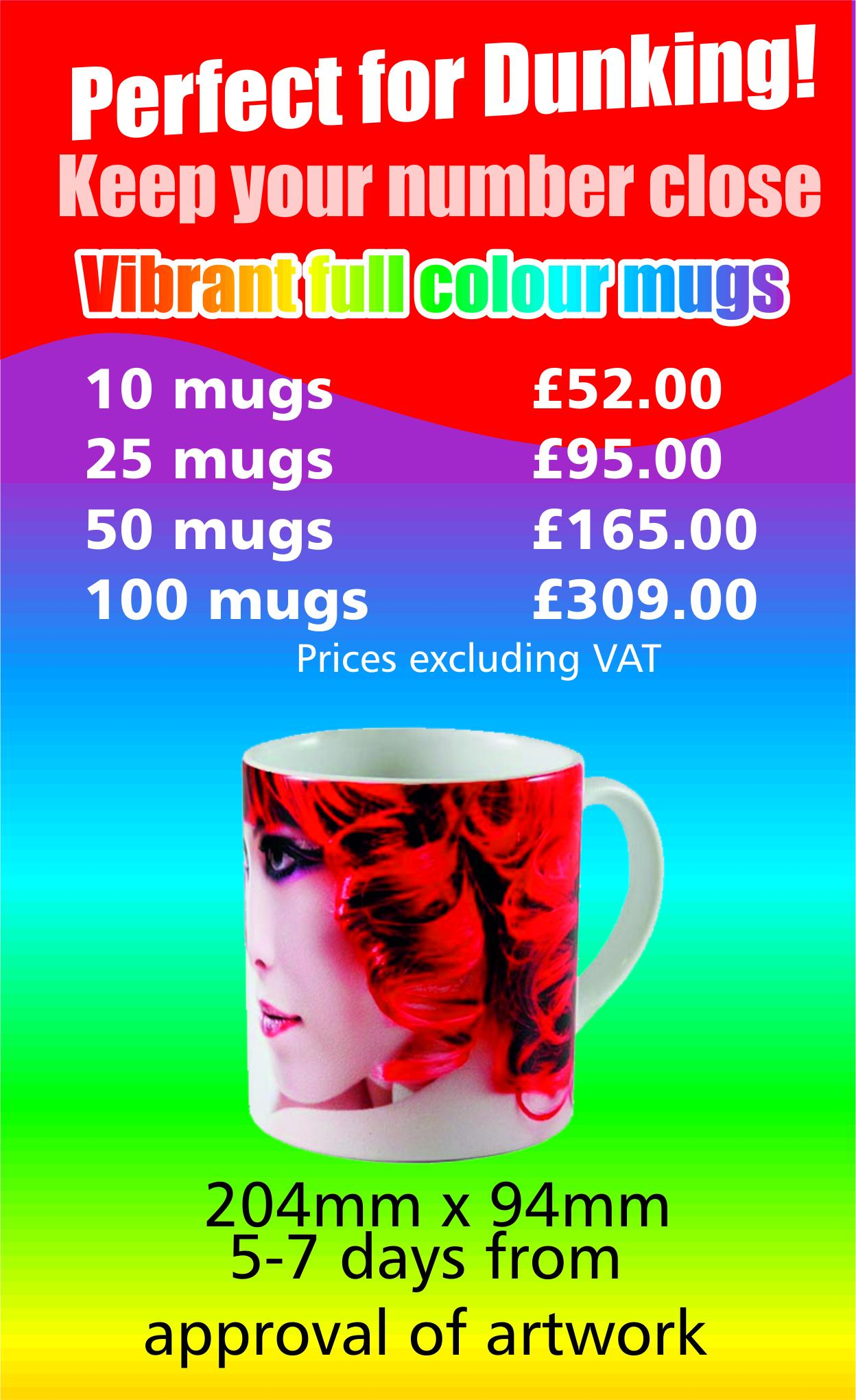 Full colour print on durham mugs